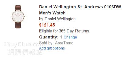 Daniel Wellington 係美國Amazon好抵買