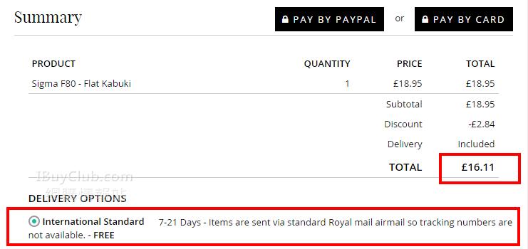 85折係英國網站買Sigma 化妝掃!(code適用於大部份貨品)
