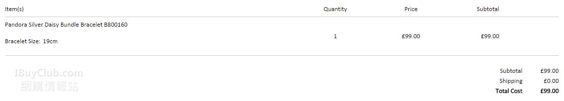 英國網站買Pandora 直寄香港(特價貨品都可額外用9折Code)