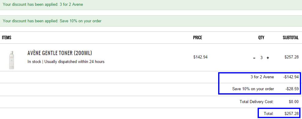 超值限時優惠:買2送1 Avene+9折code!接近半價呀!