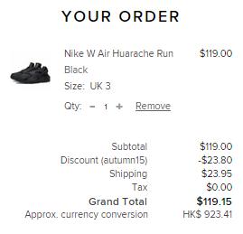 Nike Huarache全黑女款係Endclothing有8折!