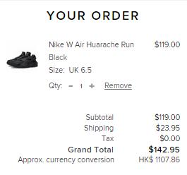 新款Nike Huarache(女款)係英國網站有賣