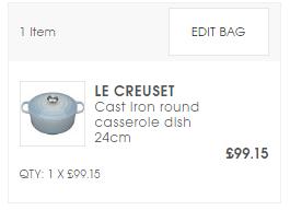 英國Selfridges網購LE CREUSET 香港價錢25折!