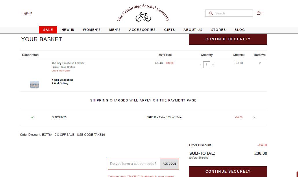 週末限時激抵優惠!The Cambridge Satchel Company大減價低至6折+額外9折!