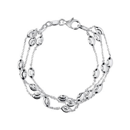 Essentials Sterling Silver Beaded Chain 3 Row Bracelet網購的圖片搜尋結果