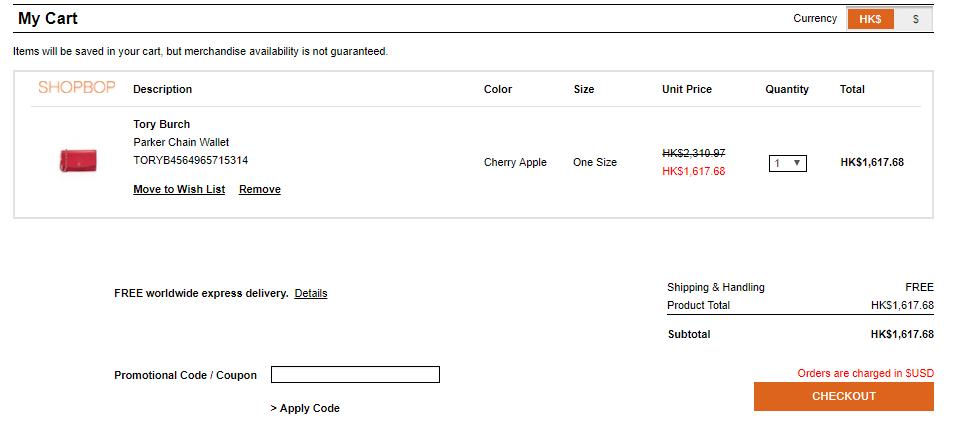 Shopbop夏日大減價!Tory Burch 低至3折!免費寄香港澳門