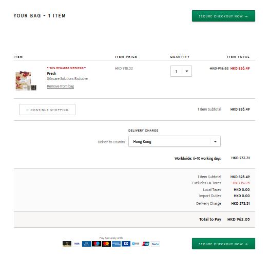 高級天然護膚法國品牌Fresh多款超抵套裝,英國百貨9折優惠+自動退稅勁抵買