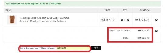 折上折限時優惠,網購Herschel Supply Co低至香港價錢46折,低至HK2